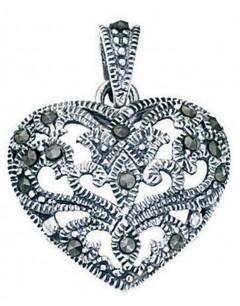 Collier coeur marcassite en argent 925/1000