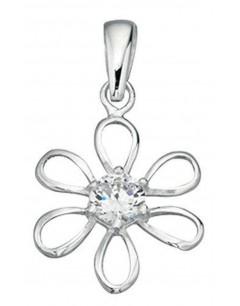 Mon-bijou - D3296 - Collier fleur et zirconium en argent 925/1000