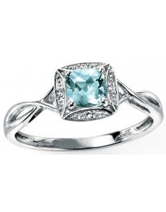 Bague Aigue marine et Diamant 0,016 carat en or 375/1000 carat