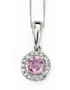 Collier saphir rose et diamant en Or 375/1000 carats