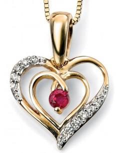 Collier coeur rubis et diamant en Or 375/1000 carats