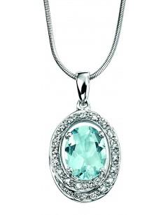 Collier aigue marine et diamant en Or blanc 375/1000 carats