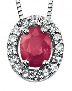Collier rubis et diamant en Or blanc 375/1000 carats
