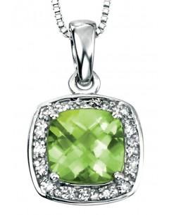 Collier péridot et diamant en Or blanc 375/1000 carats