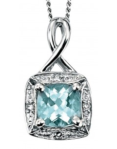 Collier algue marine et diamant en Or blanc 375/1000 carats