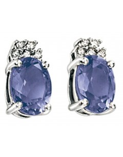 Boucle d'oreille iolite et diamant en Or blanc 375/1000