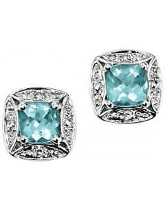 Boucle d'oreille aigue marine et diamant en Or blanc 375/1000