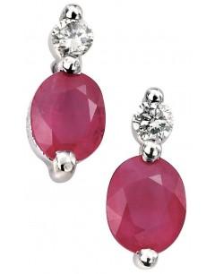Boucle d'oreille rubis et diamant en Or blanc 375/1000