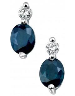 Boucle d'oreille Saphir et diamant en Or blanc 375/1000