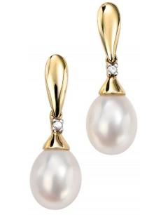 Boucle d'oreille perle et diamant en Or 375/1000