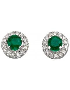 Boucle d'oreille émeraude et diamant en Or blanc 375/1000