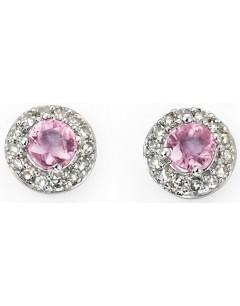 Boucle d'oreille diamant et saphir rose en or blanc 375/1000