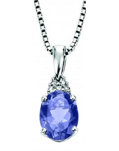 Collier iolite et diamant en Or blanc 375/1000 carats
