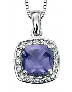 Collier iolite et diamant en Or blanc 375/1000