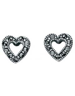 Mon-bijou - D3211 - Boucle d'oreille marcassite coeur en argent 925/1000