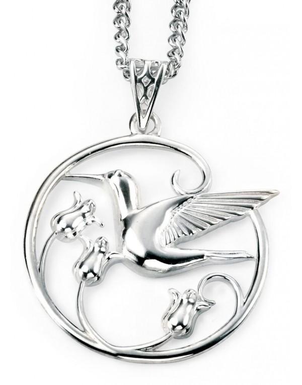collier argent colibri