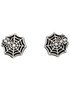 Mon-bijou - D925w - Boucle d'oreille toile d'araignée en argent 925/1000