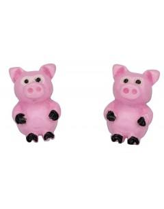 Mon-bijou - D928p - Boucle d'oreille petit cochon en argent 925/1000