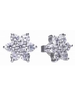 Mon-bijou - D5624 - Boucle d'oreille fleur original en argent 925/1000