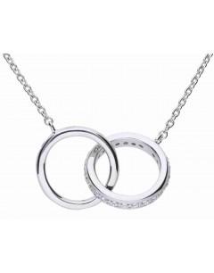 Mon-bijou - D4235 - Collier double anneaux originale en argent 925/1000