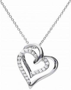 Mon-bijou - D4240 - Collier double cœurs en argent 925/1000