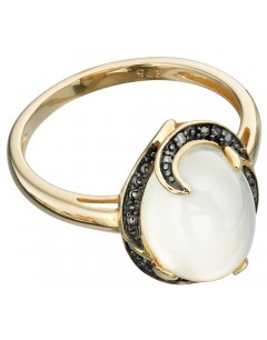 Mon-bijou - D415 - Bague Pierre de lune et diamant 0,008 carat en or 375/1000 carat