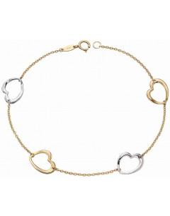 Mon-bijou - D455 - Bracelet coeurs en Or blanc et jaune 375/10