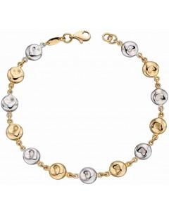 Mon-bijou - D472 - Bracelet chic et tendance en Or blanc et Or jaune 375/1000