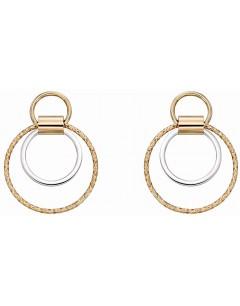 Mon-bijou - D2268 - Boucle d'oreille tendance Or blanc et Or jaune 375/1000