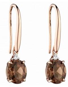 Mon-bijou - D2275 - Boucle d'oreille quartz fumé en Or rose 375/1000