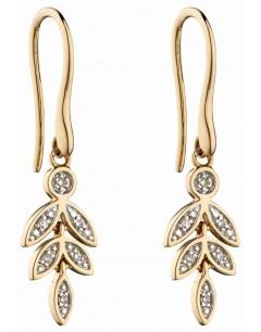 Mon-bijou - D2279 - Boucle d'oreille feuille de diamant en Or 375/1000