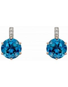 Mon-bijou - D2282 - Boucle d'oreille original topaze bleu en Or rose 375/1000
