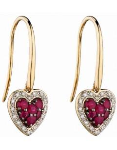 Mon-bijou - D2284 - Boucle d'oreille coeur rubis et diamant en Or 375/1000