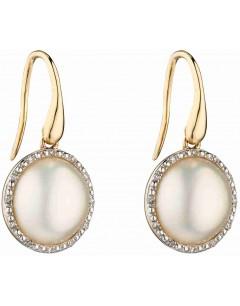 Mon-bijou - D2287 - Boucle d'oreille perle et diamant en Or 375/1000