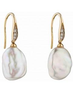 Mon-bijou - D2290 - Boucle d'oreille baroque perle et diamant en Or 375/1000