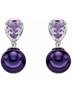 Mon-bijou - D2291 - Boucle d'oreille perle violet et améthyste en Or blanc 375/1000