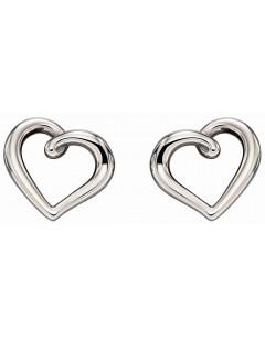 Mon-bijou - D2295 - Boucle d'oreille coeur Or blanc 375/1000