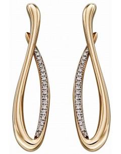 Mon-bijou - D2296 - Boucle d'oreille tendance en diamant et Or 375/1000