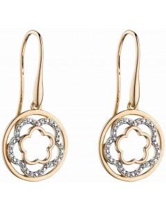 Mon-bijou - D2301 - Boucle d'oreille tendance fleur diamant en Or 375/1000