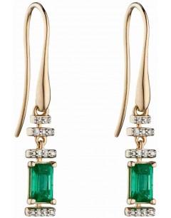 Mon-bijou - D2304 - Boucle d'oreille original émeraude et diamant en Or 375/1000