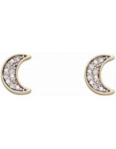 Mon-bijou - D2311 - Boucle d'oreille croissant de lune diamant en Or 375/1000