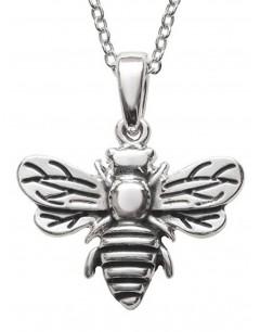 Mon-bijou - D2027c - Collier abeille argenté en acier inoxydable