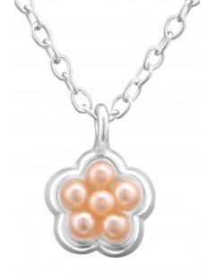 Mon-bijou - H33286 - Collier Fleur pour Petite Fille en Argent 925/1000