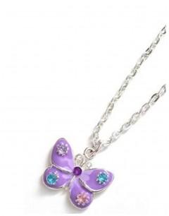 Mon-bijou - D1973-violet - Collier papillon argenté