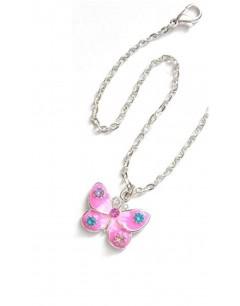 Mon-bijou - D1973-rose - Collier papillon argenté