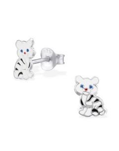 Mon-bijou - H2034 - Boucle d'oreille petit tigre blanc en argent 925/1000