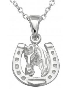 Mon-bijou - H29874 - Collier porte bonheur passion équitation en argent 925/1000