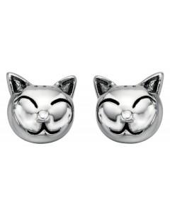 Mon-bijou - D4621 - Boucle d'oreille chat en argent 925/1000