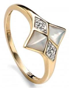 Mon-bijou - D430w - Bague nacre et Diamant 0,012 carat en Or 375/1000