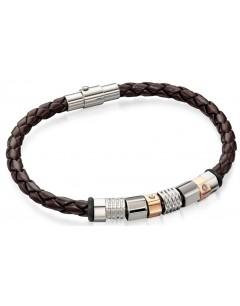 Mon-bijou - D4544 - Bracelets chic cuir plaqué Or rose en acier inoxydable